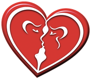 love heart 2 faces logo